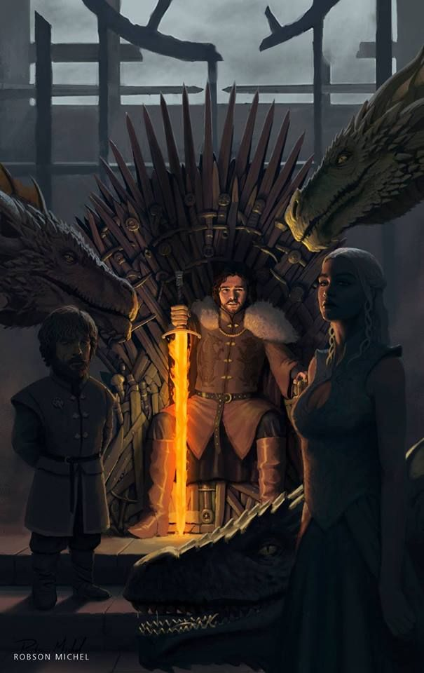"""The dragon has three heads"" / ""Le dragon a trois têtes"" Tyrion Lannister, Jon Snow, Daenerys Targaryen and her three dragons"