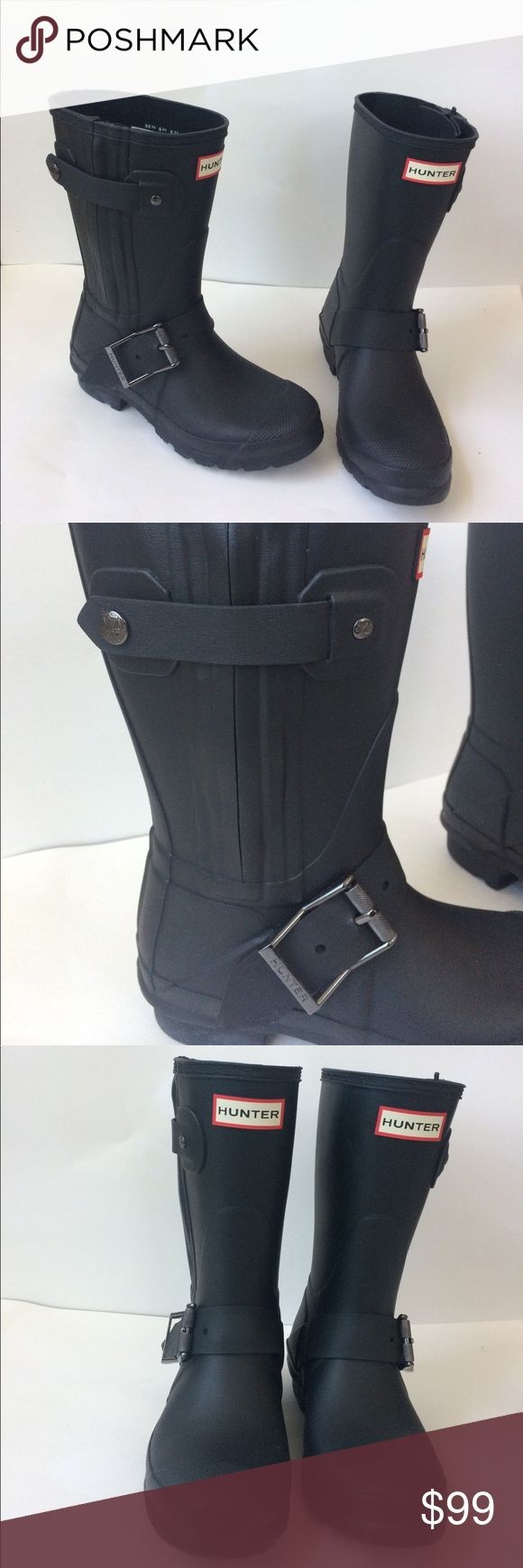 NEW Hunter Short Black Moto Buckle Rain Boots 5 36 New!! Firm price. Authentic Hunter short black moto boots in size 5 US/ 36 UK. These feature side zippers and buckles. Nordstrom exclusive! No box. Hunter Boots Shoes Winter & Rain Boots