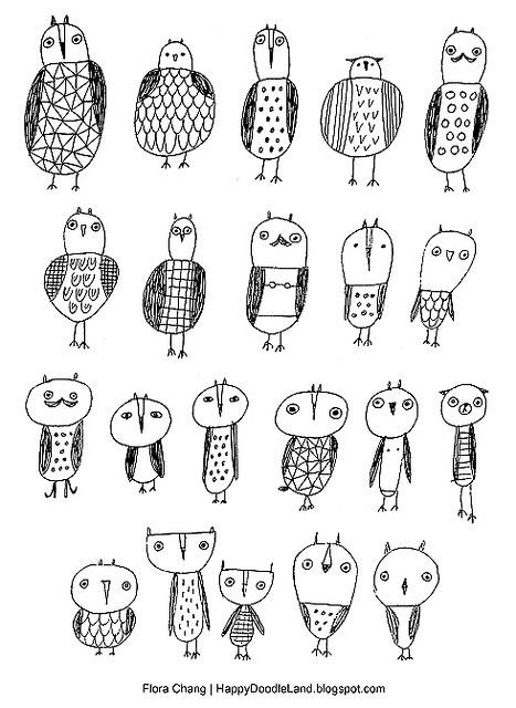 owl doodles, flora chang | Happy Doodle Land
