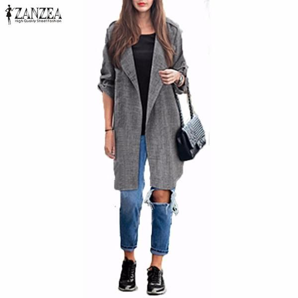 2017 Spring Women Slim Thin Outerwear Casual Lapel Windbreaker Cape Coat European Style Linen Cardigan Jacket US Plus Size S-7XL-Enso Store-Gray-S-Enso Store