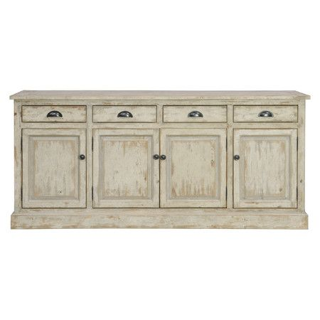 Hand crafted of distressed pine with a vintage white wash finish makes this the perfect piece to any room.Features:1 Center s...