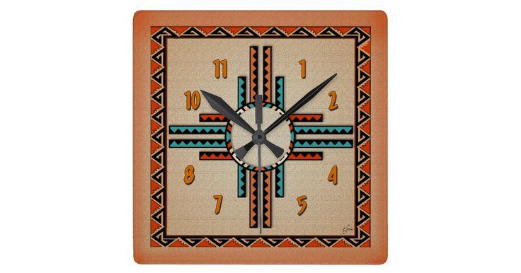 A stylized New Mexico Zia (Sun) and native design border creates a very attractive southwestern clock.