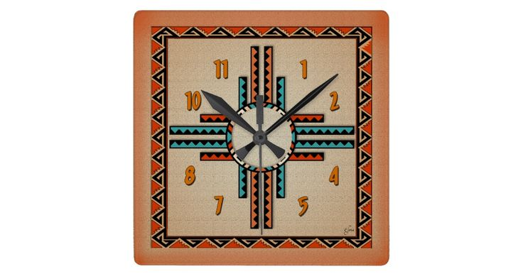 A stylized New Mexico Zia (Sun) and native design border creates a very attractive southwestern clock.