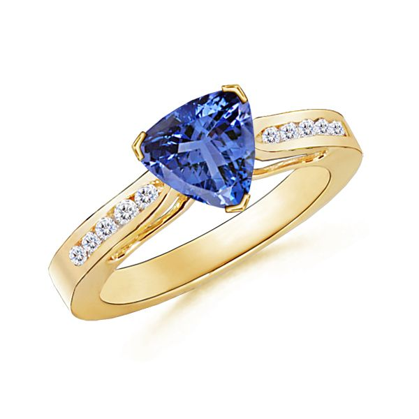 Angara Solitaire Tanzanite Crossover Ring with Diamond in Yellow Gold Od7dqc95Y