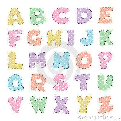 Alfabeto con los puntos de polca en colores pastel