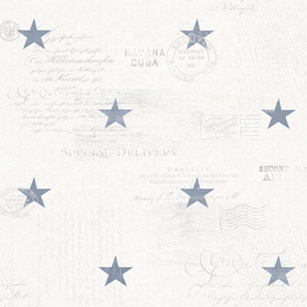 Stjärnor och text i marin stil från kollektionen Hav & Land 49333. Klicka för att se fler härliga tapeter för ditt hem!