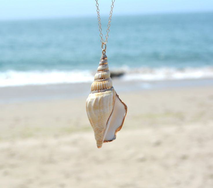 Long gold layering necklace, ocean jewelry, beach jewelry, Gold Filled boho chain seashell necklace with large gold dipped shell pendant
