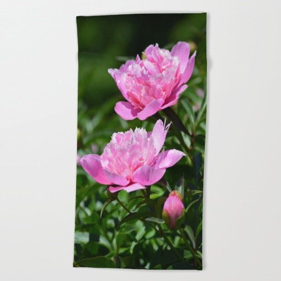 Pink Peonies Luxury Beach Towel Oversized Super by TheOldBarnDoor