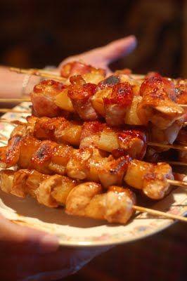 Teriyaki chicken/bacon/pineapple skewers