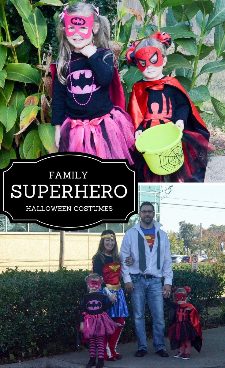 Family Superhero Halloween Costumes - Family Halloween Costumes - Superhero Halloween Costumes for Families - Halloween Costumes for Kids - Halloween Costumes for Adults - Halloween Costumes for Families - Theme Halloween Costumes - Spider Girl Costume - Bat Girl Costume - Wonder Woman Costume - Superman Costume - Fun Halloween Costumes - Cute Halloween Costumes