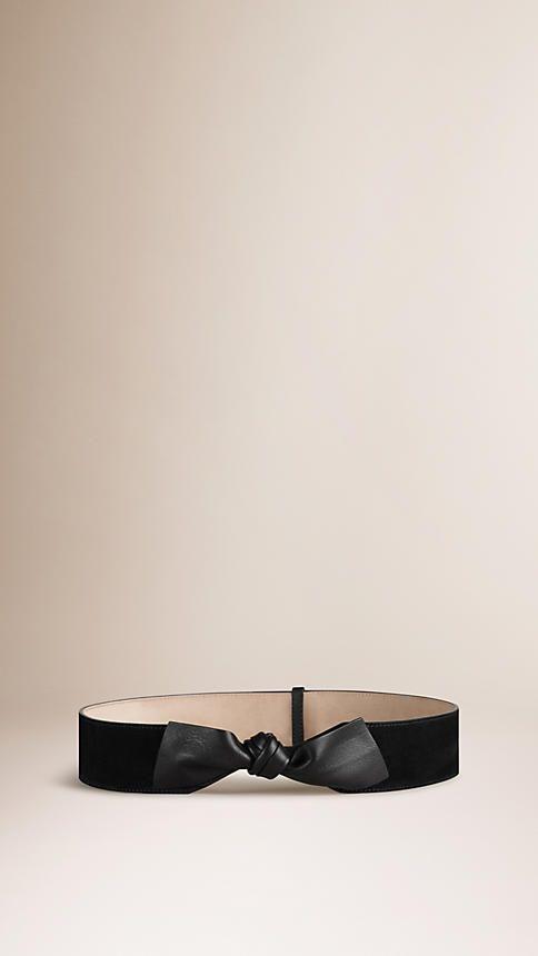 Nero Cintura in pelle scamosciata con nodo - Immagine 1