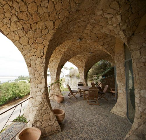 Stone bows, Elie Mouyal, Marrakech, Morocco, Africa, Terrasse