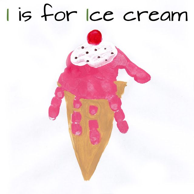 Mommy Minutes: Alphabet Handprint Art Letter I is for Ice Cream #alphabet #preschool #education
