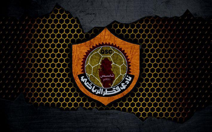 Download wallpapers Qatar SC, 4k, logo, Qatar Stars League, soccer, football club, Qatar, Doha, grunge, metal texture, Qatar FC