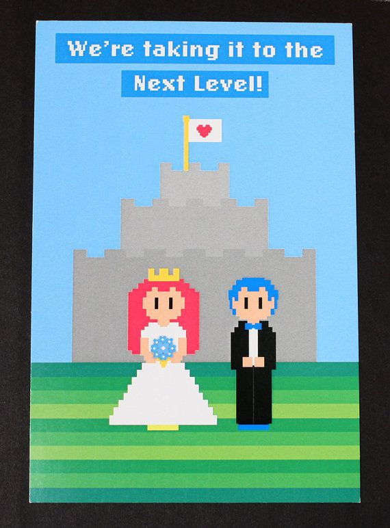 8-bit Wedding Invitation, Video Game Wedding Invitation, Nerd Wedding Invitation.    Your Princess is not in another castle! 8 Bit is the