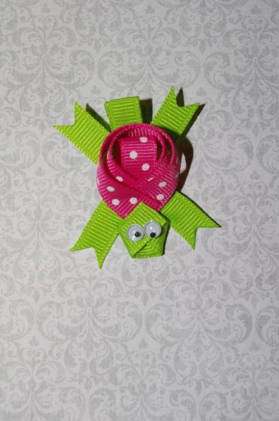 Turtle Ribbon Sculpture Hair Clip pink and by KendallsClosetofCute, $4.00