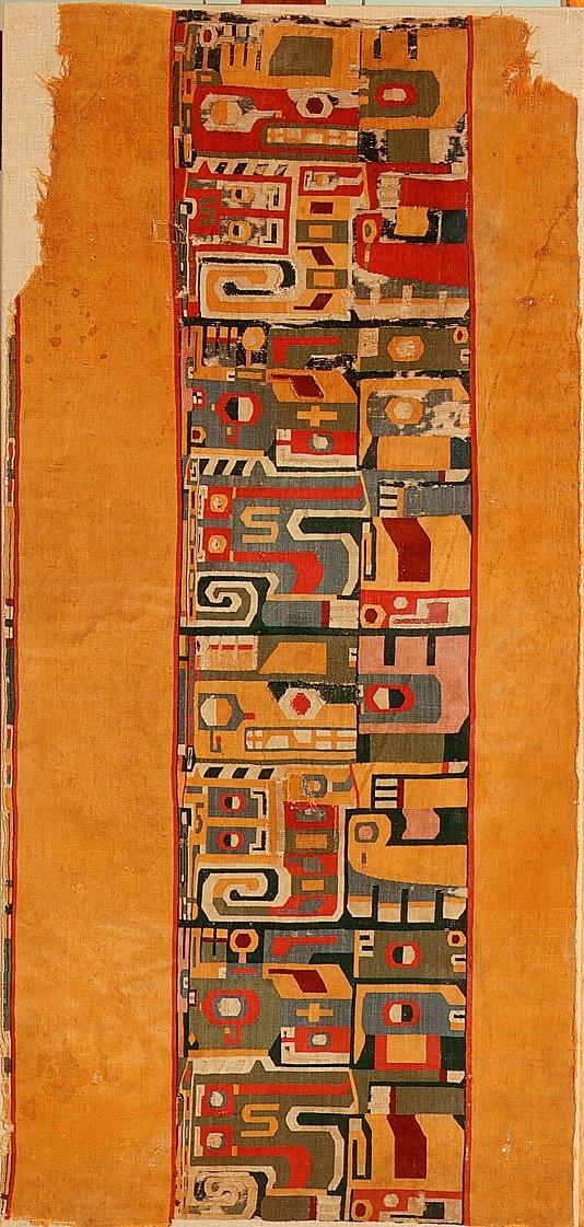 Wari | fragment: tunic | camelid hair + cotton | | Peru | c. 7th-9th century