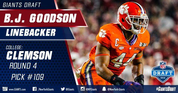 bj goodson ny giants | With the 109th pick, the #Giants select Clemson LB B.J. Goodson ...