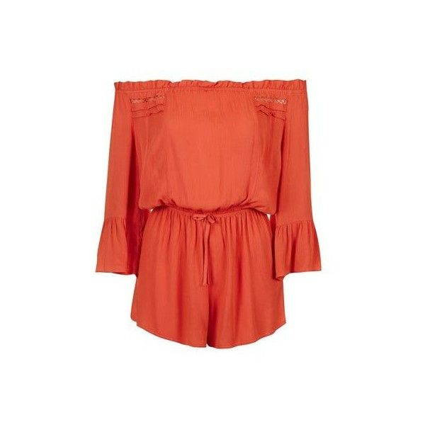 TopShop Crinkle Trim Bardot Playsuit (780 ZAR) ❤ liked on Polyvore featuring jumpsuits, rompers, burnt orange, off the shoulder romper, red rompers, playsuit romper, topshop romper and topshop