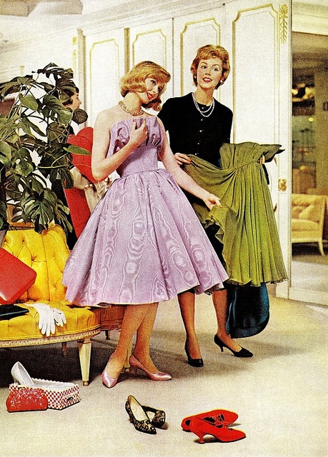 Favorite pastime as a teen, going to dress shops, trying on formals. Sale ladies different then. Encouraged it, and seemed to enjoy it as much as I did....(MF)