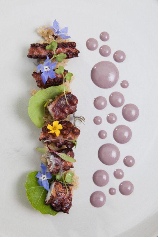 OCTOPUS OLIVO Braised octopus. Organic white quinoa. Bojita olive. Red shiso