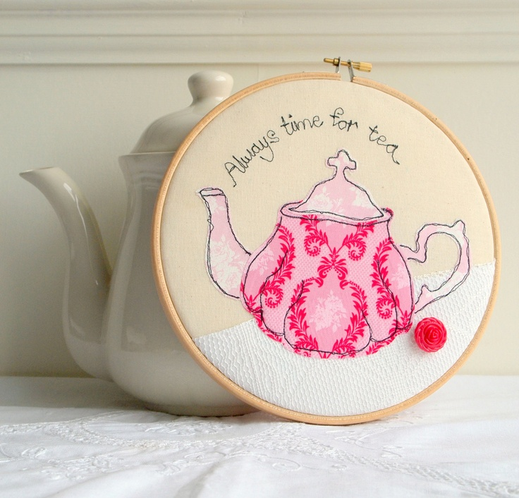 Teapot in pink embroidery hoop art applique machine embroidery. via Etsy.