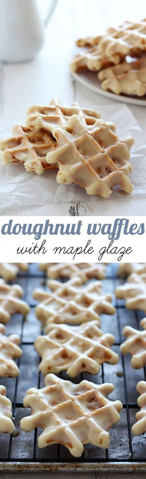 The perfect combination between doughnuts and miniature waffles topped with a thick maple glaze. Perfect fall breakfast!