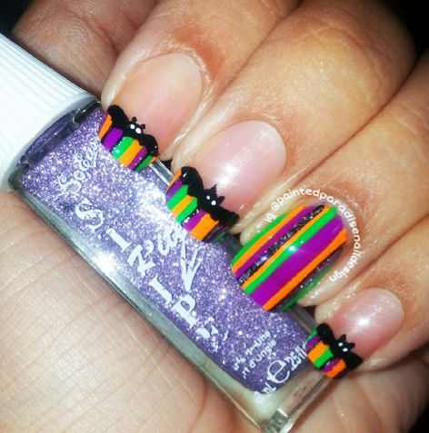Striped Bat French Tips Halloween Nails - 11788 Best Nail Art Ideas Images On Pinterest Acrylic Nails