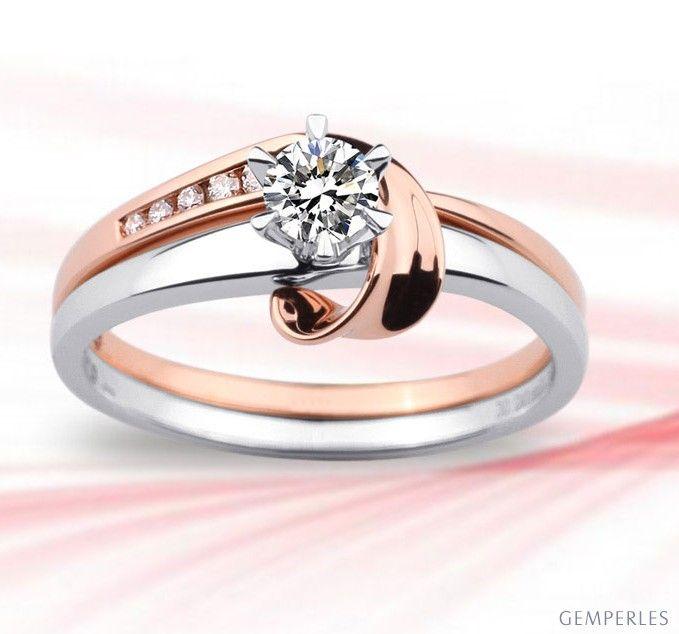 Anello Duo - Oro bianco e rosa 18k - Diamanti incastonati