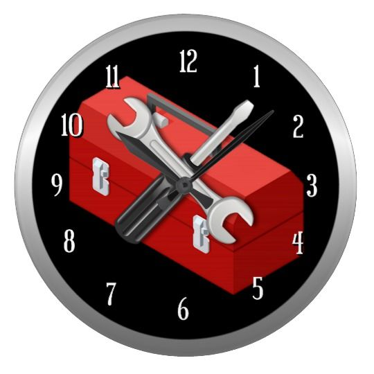 Tool Man Round Wall Clock 2 l Customize with your choice of background color l Square clock also available.