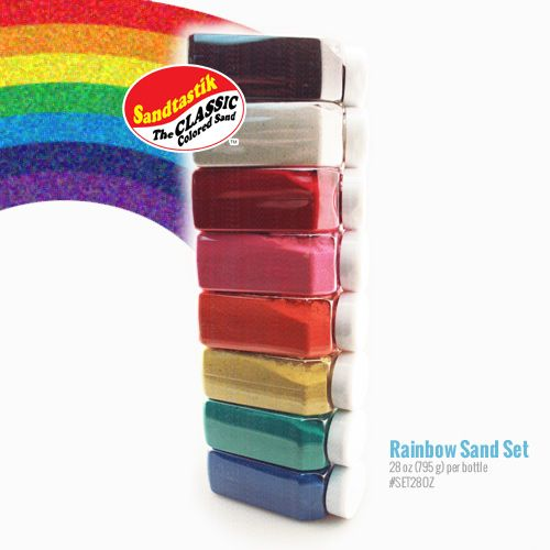 Check out the Sandtastik Rainbow Sand Set!   With this set you will get  an assortment of our vibrant sand, including black, white, blue, green, yellow, orange, pink and red, in plastic refillable bottles!  This is now on sale for 50% off!!!