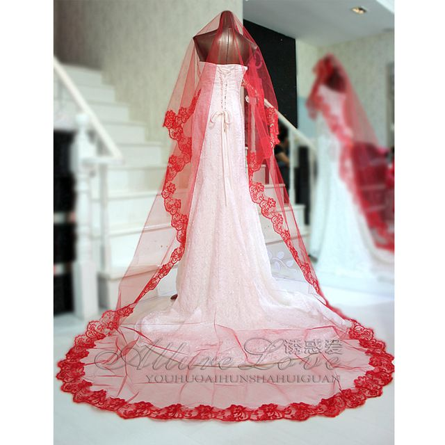 Red Wedding Bridal Veil Lace Computer 3m Embroidered Ultra