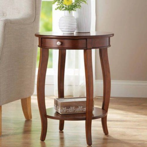 Round Accent Table with Drawer End Table Night Stand Wood Furniture Storage  #RoundAccentTable #Traditional