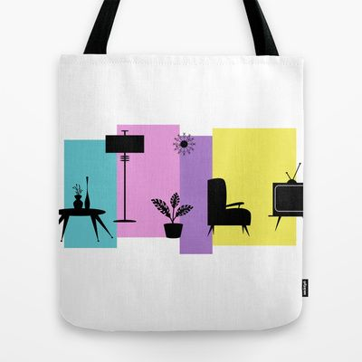 Retro Loungeroom Tote Bag by designed to a T - $22.00