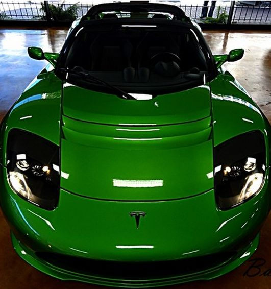 We know #Tesla love to be green but we didn't think they would go this green! Hit the image for Tesla Roadster... #spon
