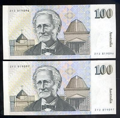 Consecutive-Pair-1990-Australian-100-00-Banknotes-aUNC-ZFZ-819096-97