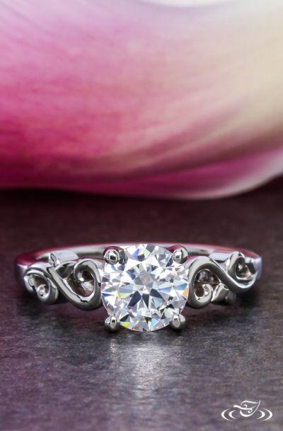 Leafy Swirl Engagement Ring. Green Lake Jewelry 108194
