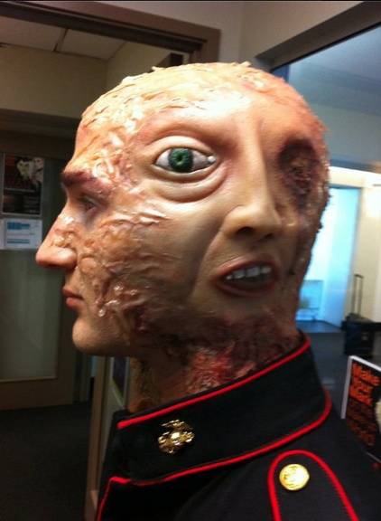 Hmmh, guess what we did at Makeup school today. Blanche Macdonald Makeup student Special Effects/Prosthetics work.