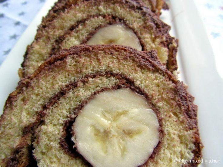 Mijn mixed kitchen: Muzlu rulo pasta (opgerolde cake met banaan)