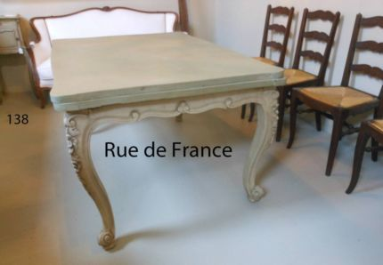 ANTIQUE FRENCH OAK PAINTED FINISH PROVINCIAL DINING TABLE