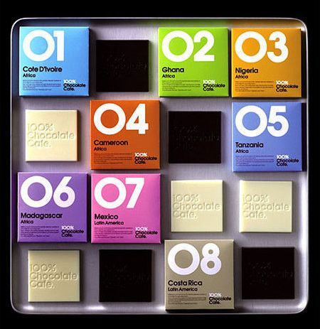 """Love the """"Pantone chip"""" feel of these little packages. Evidently 56 different chocolate and cheeses."""