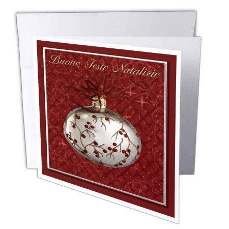 3dRose Buone Feste Natalizie, Merry Christmas in Italian, Red Berries , Greeting Cards, 6 x 6 inches, set of 6