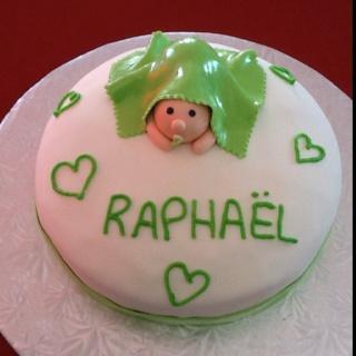 Gâteau de baptême de bébé Raphaël, le trésor de mes amis Daniel et Isabelle.