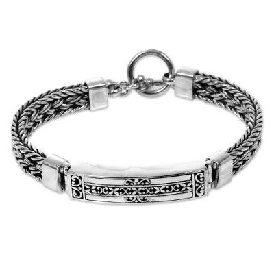 Artisan Crafted Balinese Sterling Silver Bracelet for Men – Denpasar Braid | NOV…   – cool stuff