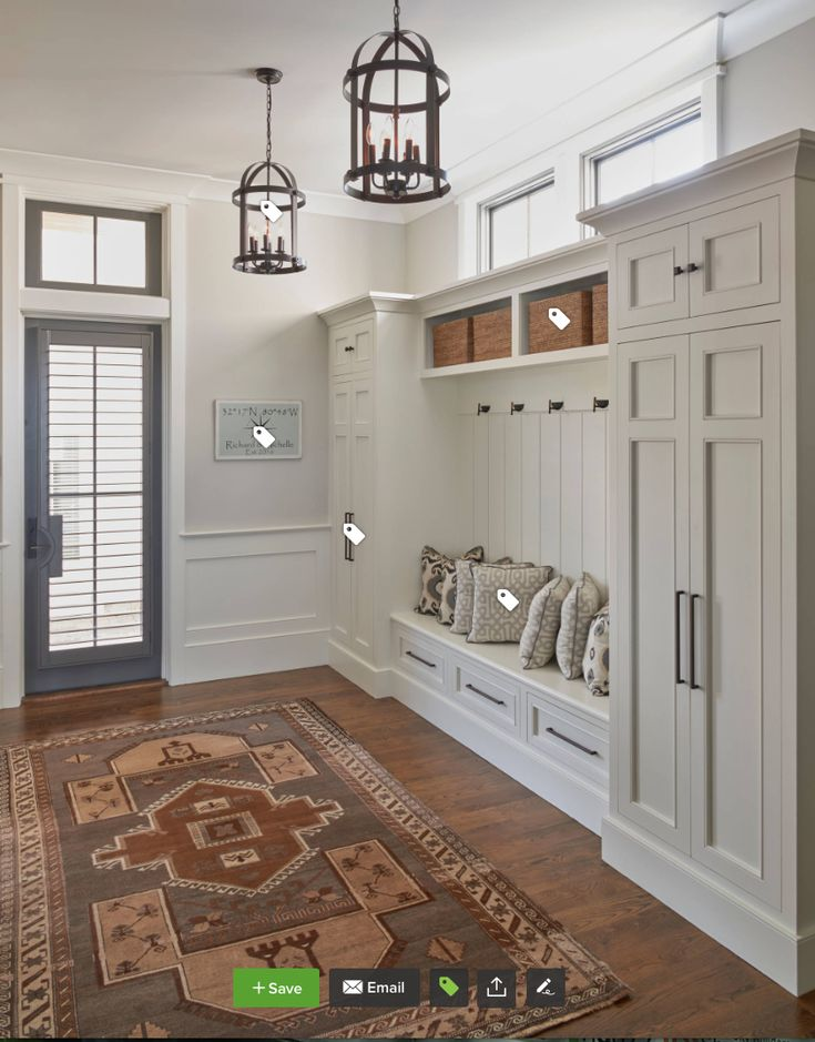 mudroom bench with tall cabinets