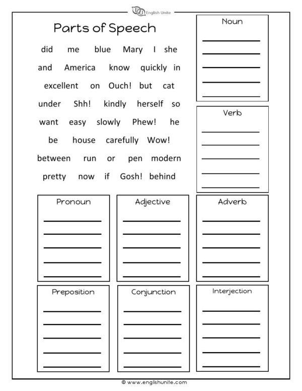 Parts Of Speech Worksheet English Unite Parts Of Speech Worksheets Part Of Speech Grammar Order Of Adjectives Worksheet
