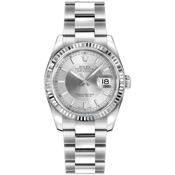Rolex Datejust 36mm Stainless Steel 116234 Silver/Rhodium Index Oyster... (€5.760) ❤ liked on Polyvore featuring jewelry, watches, stainless steel, stainless steel watches, silver watches, rolex wrist watch, silver jewellery and silver jewelry
