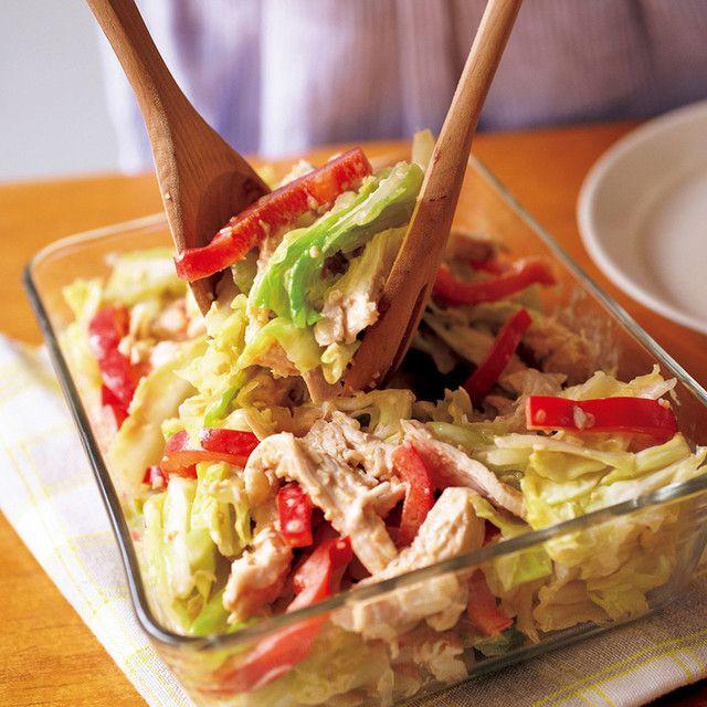 春キャベツと蒸し鶏のごまだれサラダ