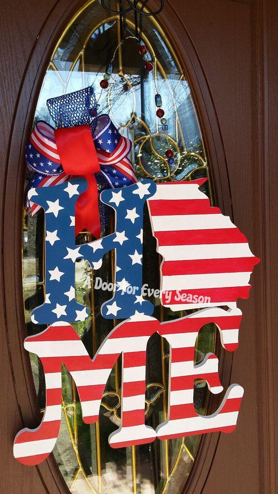 Patriotic Door Hanger HOME Word Cut Out by ADoorForEverySeason