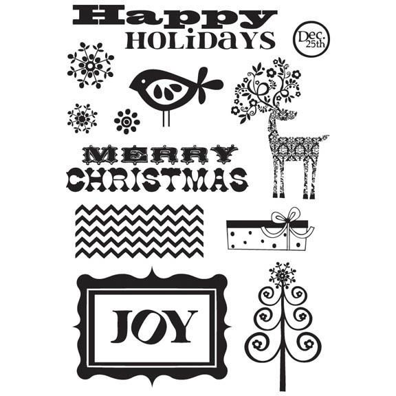 Home For Christmas 13 pk Rubber Stamps - Fancy Pants clear cling unmounted
